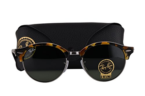 Ray Ban RB4246 Clubround Sunglasses Spotted Black Havana w/Green Lens 1157 RB - 1970s Ray Sunglasses Ban