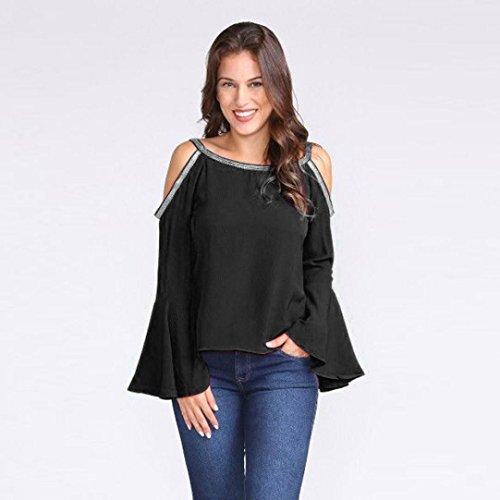 Nouveau Nouveau 2018 Noir paule Long Femmes Automne O Manches T Casual Off zahuihuiM Printemps Shirt Mode Solide Blouses Glitter Cou Flare Tops qBRCfxIw