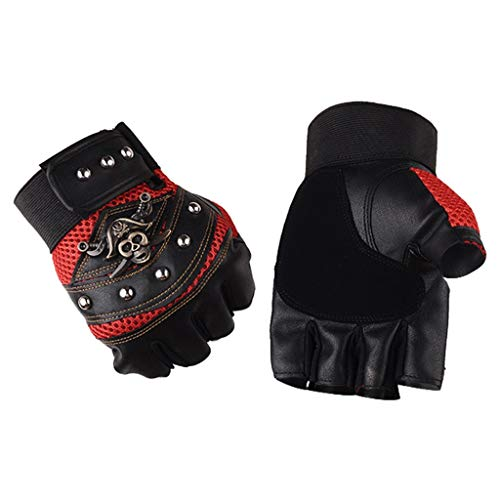 (Sport Bicycling Gloves,WUAI Fingerless Cycling Gloves Half Finger Moutain Bike Bicycle Riding Gloves for Men and Women(Red,Free Size))