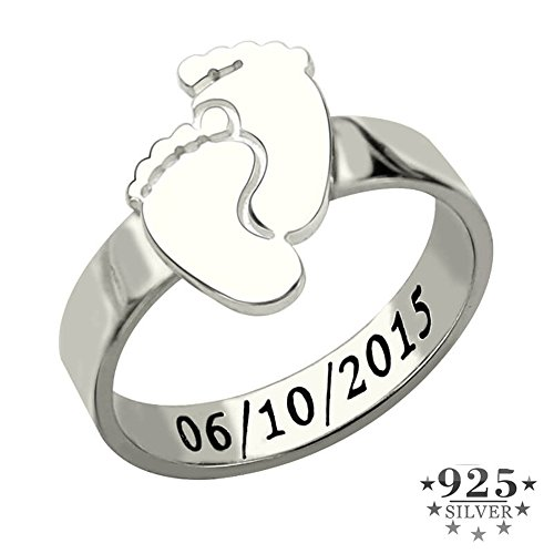 KIKISHOPQ Personalized Baby Feet Ring Silver Engrave Name&Date Ring Cute Baby Footprint Mom Gift Mother's Ring(silver 9)
