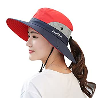"""Muryobao Women's Sun Hat Outdoor UV Protection Foldable Mesh Bucket Hat Wide Brim Summer Beach Fishing Cap Red Navy, Fit Head Circumference Size: 21""""-23"""""""