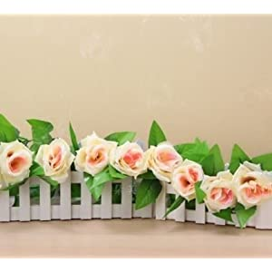 FYYDNZA 9Pcs/13Pcs Heads 250Cm Fake Silk Roses Vine Artificial Flowers With Green Leaves For Home Wedding Garland Hanging Decoration 11