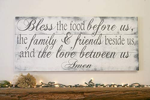 Amazon Bless The Food Before Us Wood Kitchen Sign Dining Room Pallet Rustic Chic Shabby Vintage Decor Home