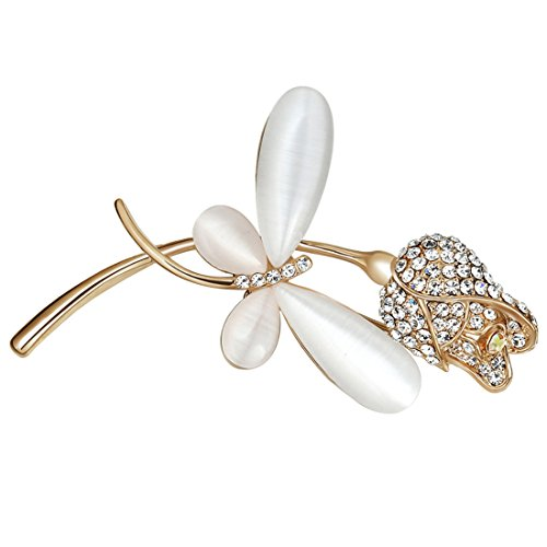 Classic Dragonfly Brooches Cubic Zirconia Flower Brooch Pins for Women Insect (Cubic Zirconia Dragonfly Brooch)