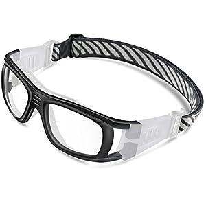 Ponosoon Sports Goggles Glasses for Basketball Football Volleyball Hockey 1809(Black)