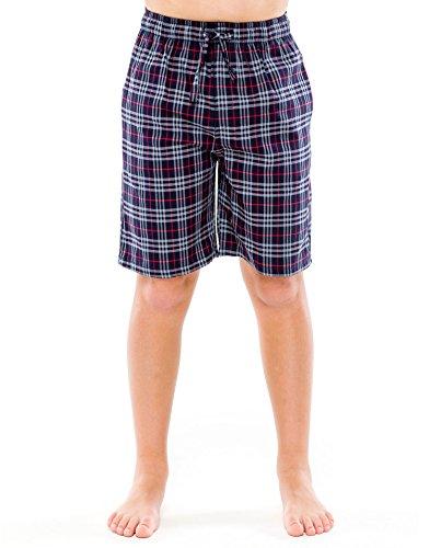 Boys Short Pj (TINFL Boys Plaid Check Soft 100% Cotton Lounge Shorts BSP-12-Darkgrey-YM)