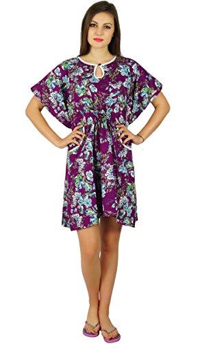 Short Womens Purple Kaftan Clothing Bimba Caftan Cotton Wear Purple Sleep Floral wOgwvqd5