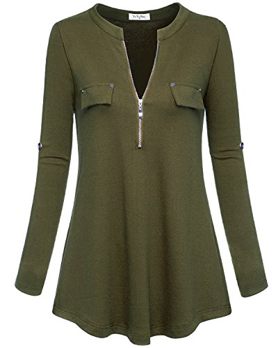 YaYa Bay Blouse for Womens, Fashion Military Green Small Deep V Neck Long Sleeve High Waist Soft Knit Cotton Plain Zip up Casual Blouse Shirt