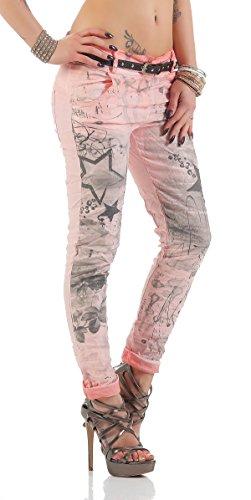 ZARMEXX Pantalones de las mujeres con los pantalones vaqueros holgados novio cinturón de los pantalones de Jeggings Chinos estrellas -Imprimir altrosa