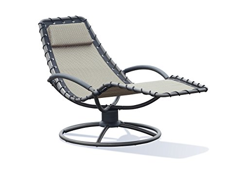 Lourde Living Gold Collection Geraldton 1 Piece Mesh Fabric Aluminum and Steel Outdoor Patio Rocking Lounger Chair, Khaki by Lourde Living