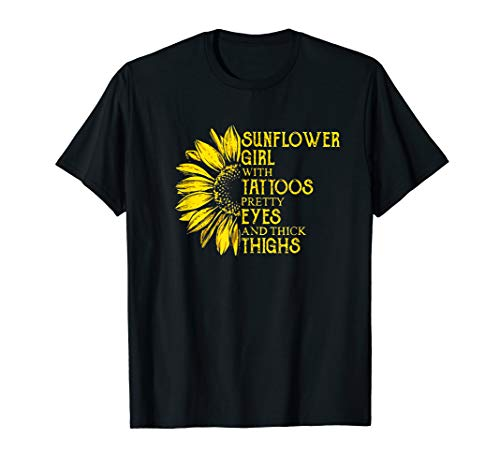 Tattoo Mens Tee - Sunflower girl with tattoos pretty eyes and thick thighs Tee