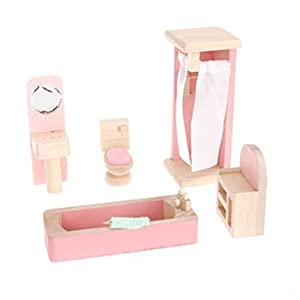 picture of Aisster(TM) Wooden Furniture Dollhouse Miniature Pink Bathroom Set Children Toy by Aisster
