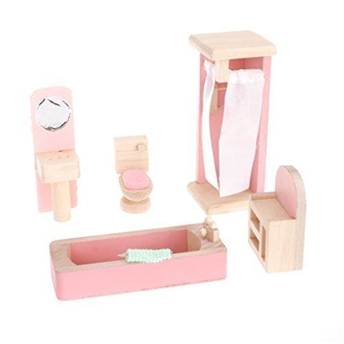 Aisster(TM) Wooden Furniture Dollhouse Miniature Pink Bathroom Set Children Toy by Aisster,aisster