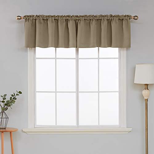 - Deconovo Decorative Rod Pocket Curtain Valance Light Blocking Blackout Valances for Bedroom Window 52x18 Inch Khaki 1 Panel