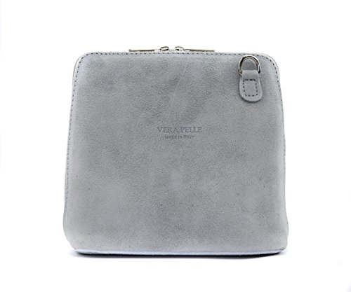 Body Bag Italian Light Craze Suede Grey Cross Shoulder Small London Womens Designer Strap Vera Real pelle Genuine PxPRYTw
