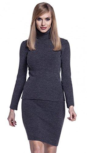 Glamour Empire Para Mujer Conjunto de Punto Falda Top Entallado Cuello Alto. 489 Grafito