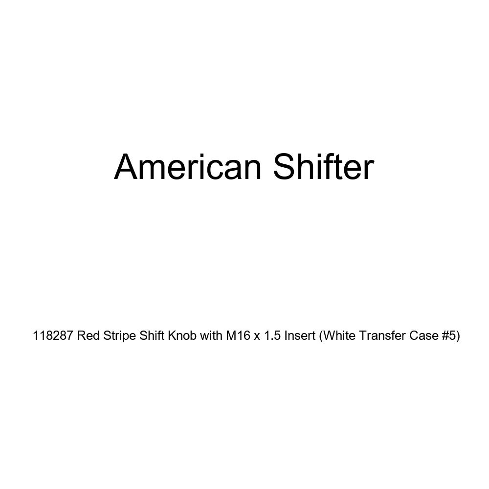 American Shifter 118287 Red Stripe Shift Knob with M16 x 1.5 Insert White Transfer Case #5