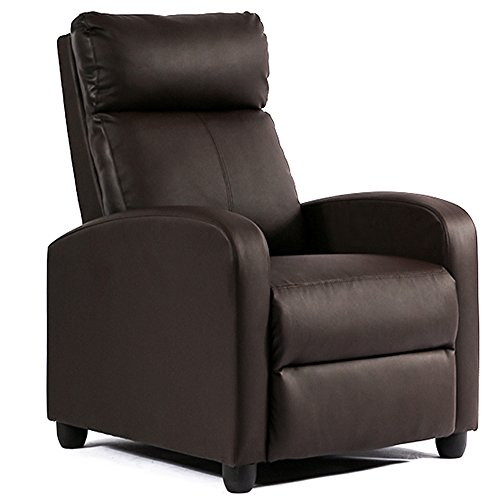 Single Reclining Sofa Leather Chair Home Theater Seating Living Room Lounge Chaise with Padded Seat Backrest (Brown)