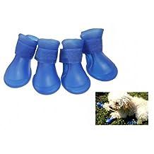 4pcs Perro PVC Lluvia Botas Zapatos Impermeables Accesorios para el tamaño del Perro casero Azul Medio
