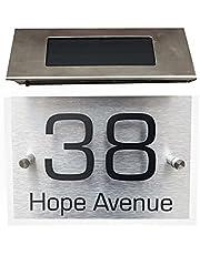 Huisnummer op zonne-energie, roestvrij staal, met 4 leds, verlichting, huisnummerlamp, weerbestendig, huisnummerbord, zonnehuisnummerbord, bord voor poort, tuin, huis, kantoor, studio, winkel