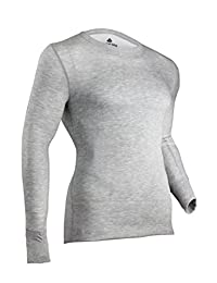 Indera 975LSLGGR Men's Two-Layer Performance Thermal Underwear Top with Silvadur, Heather Grey, Large
