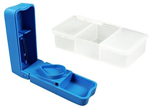 COM-FOUR®Set Mini Tablettenbox mit drei Fächern, transparent + Tablettenteiler blau (Box + Teiler)