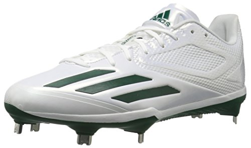 adidas-Mens-Adizero-Afterburner-3-Baseball-Cleats-WhiteDark-GreenDark-Green-15-M-US