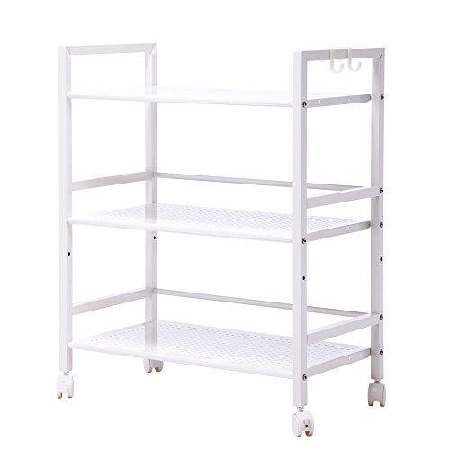 White Laundry Stand (Z ZTDM 3 Tiers Shelves Storage Rolling Utility Cart with Wheels, Large Classics Widen Multi-functional Organizer Portable Stand for Kitchen, Ivory White)