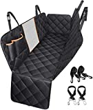 Dog Car Seat Cover, TOPELEK Large Back Pet Car Seat Protectors with Mesh Viewing Window, 2 Seat Belt, Storage Pocket, Non-Scratch Waterproof Nonslip Dog Hammock for Cars Trucks and SUV