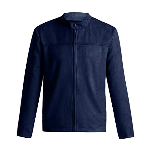 LEXUPA Men's Blouse Fashion Hoodies Daily Sweatshirts Spring Winter Coat Zipper Jacket Slim Long Sleeve Suit Trench Top (XXX-Large,Navy) -