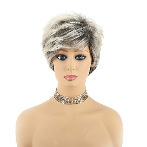 Short Wigs for Women Slightly Curly Wavy Hair Wigs Synthetic Full Wigs for Daily Party black Root Mixed blonde color Wig