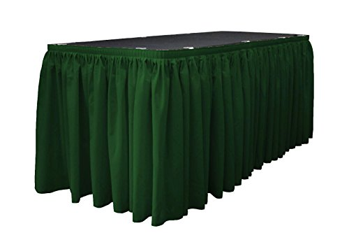 LA Linen Polyester Poplin Pleated Table Skirt with 15 Large Clips, 21-Feet by 29-Inch, Hunter Green. - Polyester Table Skirt 21'