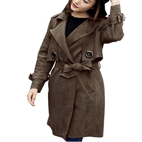 Auwer Parka Coat, Black Day Hot Sale Women Lapel Faux Suede Office Work Long Trench Coat Fur Jacket Outwear Parka Windbreaker (Army green, - Maxmara Sale