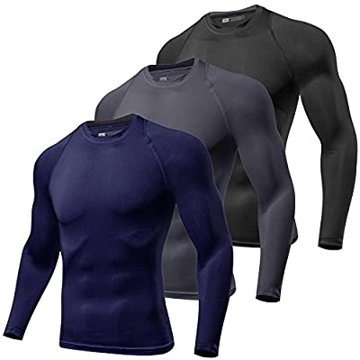 Lavento Men's Compression Shirts Baselayer Crewneck Long-Sleeve Dry Fit T-Shirts