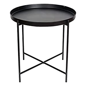 HollyHOME Metal Folding Tray End Table, slide under Sofa Side Table, Round Sofa Console Table with Storage, Coffee Table,Black