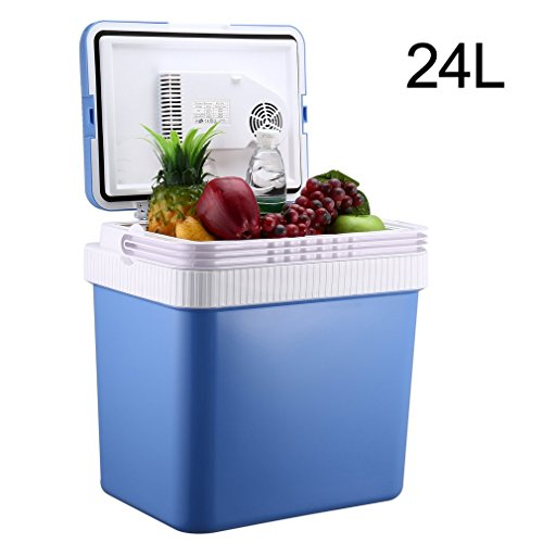 CATUO Car Refrigerator Fridge, 24 Liter Portable Travel Cooler/Food Warmer with Car/House AC DC Plug, Security Removable Lid for Office, Home, Road Trip, Camping, Party and Picnic