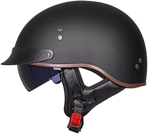 Motorradhelm, Retro-Harley-Motorradhalbhelm DOT/ECE-Zertifizierter Unisex-Jet-Helmhalbhelm Mit Offenem Helm, Cruiser…