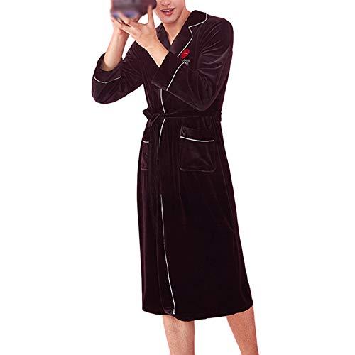 Cálido Traje De Terciopelo Señoras Lujo Con Baño Black Para Del Pijamas Mujer Las Bolsillos Olliuge Cinturón Suave men Cómodo Vestido Camisón Y Albornoz Lleva Iqp7Onw