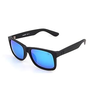 Tacloft Polarized Sunglasses 54mm Classic Wayfarer Eyewear Shade tl6001 (Black frame/Revo Blue Lens)