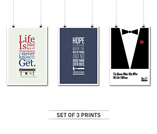 Lab No. 4 Set of Three Movie Dialogues Quotes Poster in A3