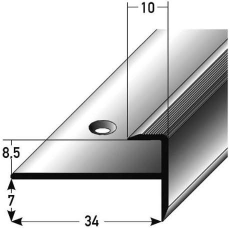 2 metros (2 x 1 m) - Perfil de acabado / guardacanto, por laminado, 8,5 mm de elevación, aluminio anodizado, perforado: Amazon.es: Hogar