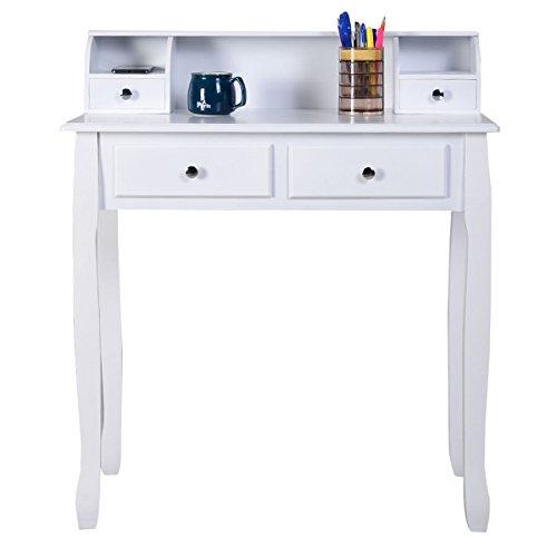 Desk writing desk mission white home office laptop computer 4 drawer corner furniture study shape