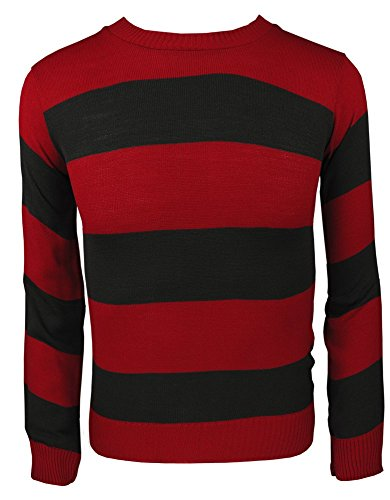 TrendyFashion Little Boys' Knitted Jumper Fancy Character Sweater Casual Stripped Top Girls Small 7-8 Years Red/Black Jumper (Freddy Krueger Costume Boys)