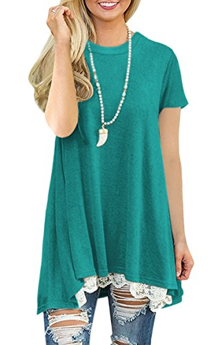 Cotton Blend Blouse (Hibluco Women's Casual Crew Neck Short Sleeve Tops Lace Shirt Tunic Blouse (X-Large, Green))