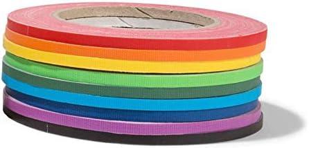 Gewebeband-SetGaffa 9 Rollen starkes Gaffa-Tape rot//orange//gelb//hellgr/ün//gr/ün//hellblau//blau//lila//schwarz beschichtetes Klebeband im Rainbow-Set je 5 mm Breite x 25 m L/änge