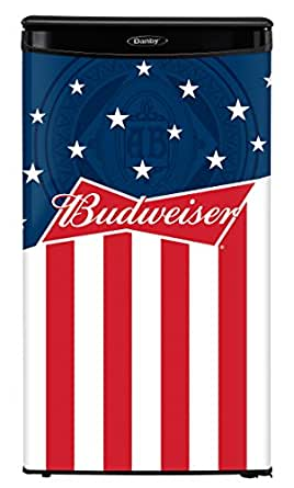 Danby DAR033A1BBUD2 Budweiser 3.3 cu.ft All Refrigerator, Red/White/Blue with Black Cabinet