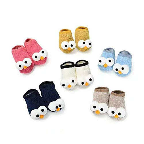 PanGa Baby Boys Girls Socks Set Anti-Slip Slippers Soft Sole Toddler Infant Newborn First Walkers 3D Big Eyes Cartoon Crib Floor Socks (0-6 Months, 6#) ()