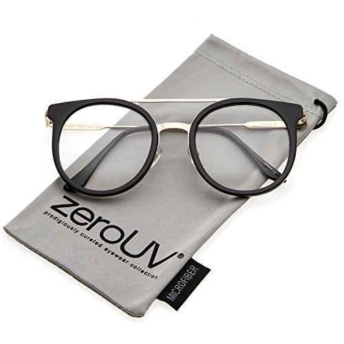 zeroUV - Horn Rimmed Double Nose Bridge Clear Lens P3 Round Eyeglasses 50mm (Black-Gold / - Frames P3 Eyeglass