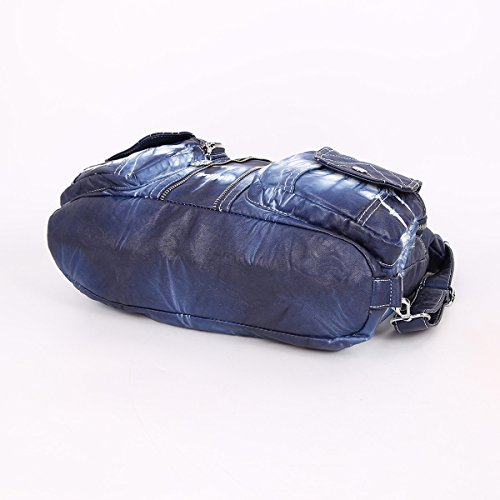 Shoulder Blue Multi Washed Angelkiss Pockets AK678Z Zippers 2 Women Handbags Backpack Purses Leather Bags Top qnFTH