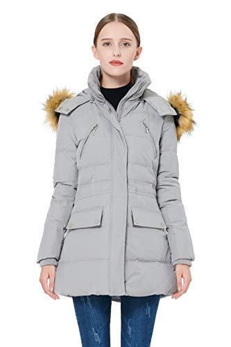 Orolay Women's Thickened Down Jacket Winter Coat Grey 2XL